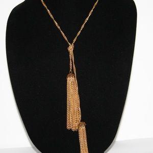 """Long vintage gold tassel necklace 27"""""""